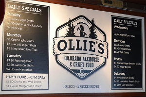 Ollie's Menu Indoor Sign